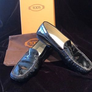 TODS black patent penny loafer